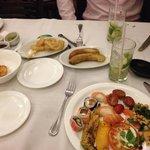 Salad Buffet food and Caipirinhas