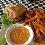 Veggie burger w/ sweet potato fries.  Very good. (I didn't like that sauce that came with it)