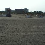 Bit of loose sand, but mostly hard compacted beach at Occidental, Cartagena, Colombia