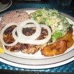 Grilled mahi mahi with plantains, ceasar salad & mixed rice/beans