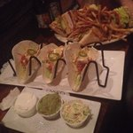 Mahi mahi tacos and club sandwich