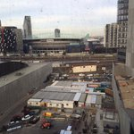 """Docklands view room"". No docklands view. Just the stadium and a construction site."