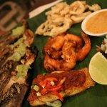 Seafood Platter of Grilled Rock Lobster w. Chermoula Butter, Snapper Fillet, Pepper Prawns, Cala