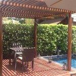 outdoor deck at beach villa
