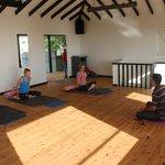 Inside yoga studio