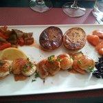 Assiette de St Jacques et ses 5 legumes
