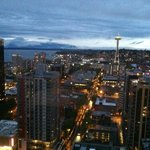 View from a Space Needle View Room at sunset