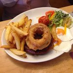 Cumberland sausage, onion rings where enormous! Picture doesn't do the potion size justice