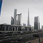 Looking out of the balcony towards the Burj Khalifa