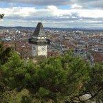 Graz mit Uhrturm am Schlossberg