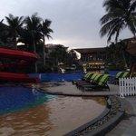 Pools & main building at dusk