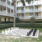 Life-sized chess board in the courtyard