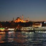 mosquée Süleymaniye vue de nuit du pont de Galata