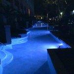 Zen garden pool at night