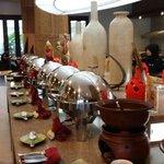 Breakfast buffett spread.