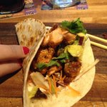 salmon tacos with fresh avocado and a healthy sampling of fresh cilantro!