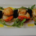 Scallop with black pudding and cauliflower puree starter