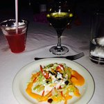 Wonderful salad and wine at dinner