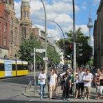 Streetcar passing the Neue Synagoge on Oranienburger Strasse Berlin.