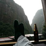 Enjoying a Cusqueno on the balcony