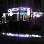 Outside Chaplins Bar