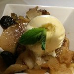 Warm pear and fig cobbler with a scoop of homemade ice cream YUMMY