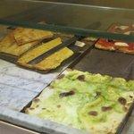 tray of farinata near the gates and mura del Barbarossa - €1 per slice!