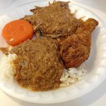 BBQ, hash over rice, fried chicken, and sweet potato