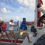 Alex dd a great job hoisting the sail!