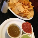 Sampler or chips and trio of sauces