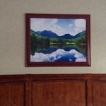 painting above the bed, evocative of Lake Placid