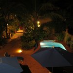 The Courtyard & pool at night