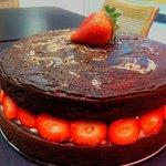 Dark Chocolate and Strawberries with White Chocolate Bavarian Custard Layer Cake