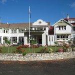 Waitomo Caves Hotel, main entrance & staff car-park.