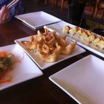 I believe New Mexico roll is on left, wontons in middle and Las Vegas roll on right...DELICIOUS!