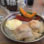 Biscuits & gravy with bacon & eggs