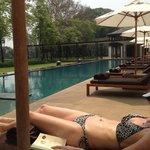 My wife enjoying poolside at the Anantara