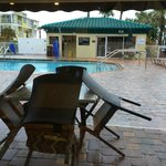 Rainy day view of the pool area