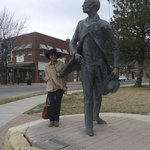 Me visiting Wyatt Earp in Dodge City… Weather was chilly, but it was worthy to meet the legend :
