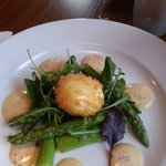 Asparagus and egg starter.