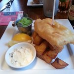 Posh fish and chips, home made tartare sauce.
