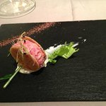 Veal tartare with anchovy butter.
