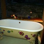 Private outside patio bath under the stars