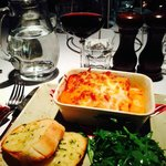 Lasagne with a glass of Rioja