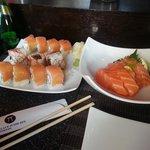 salmon sashimi, spicy tuna and salmon maki
