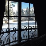 spring snow out the window of the Ponderosa suite.