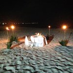Setting for the private beach dinner
