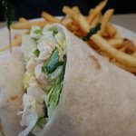 Grilled Asiago Chicken wrap with fries