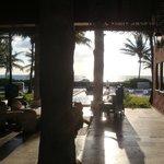 View through lobby to pool & beach beyond