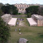 Uxmal ballcourt with palace in center
